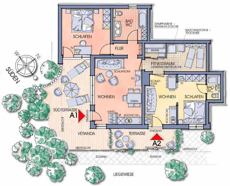 Grundrisszeichnung der Apartments Oberfeld in Starnberg